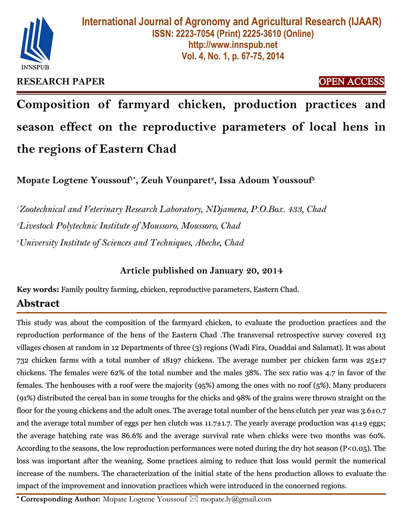 Composition of farmyard chicken, production practices and season